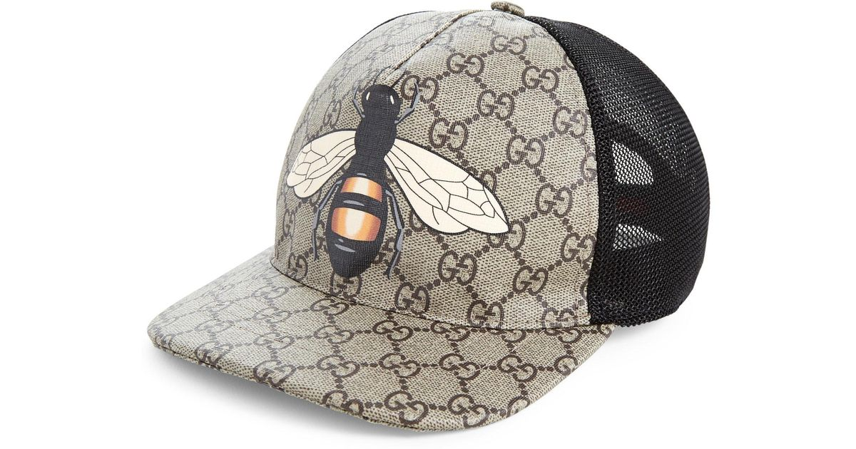 Lyst - Gucci Bee Baseball Cap in Natural for Men 921fddc7901