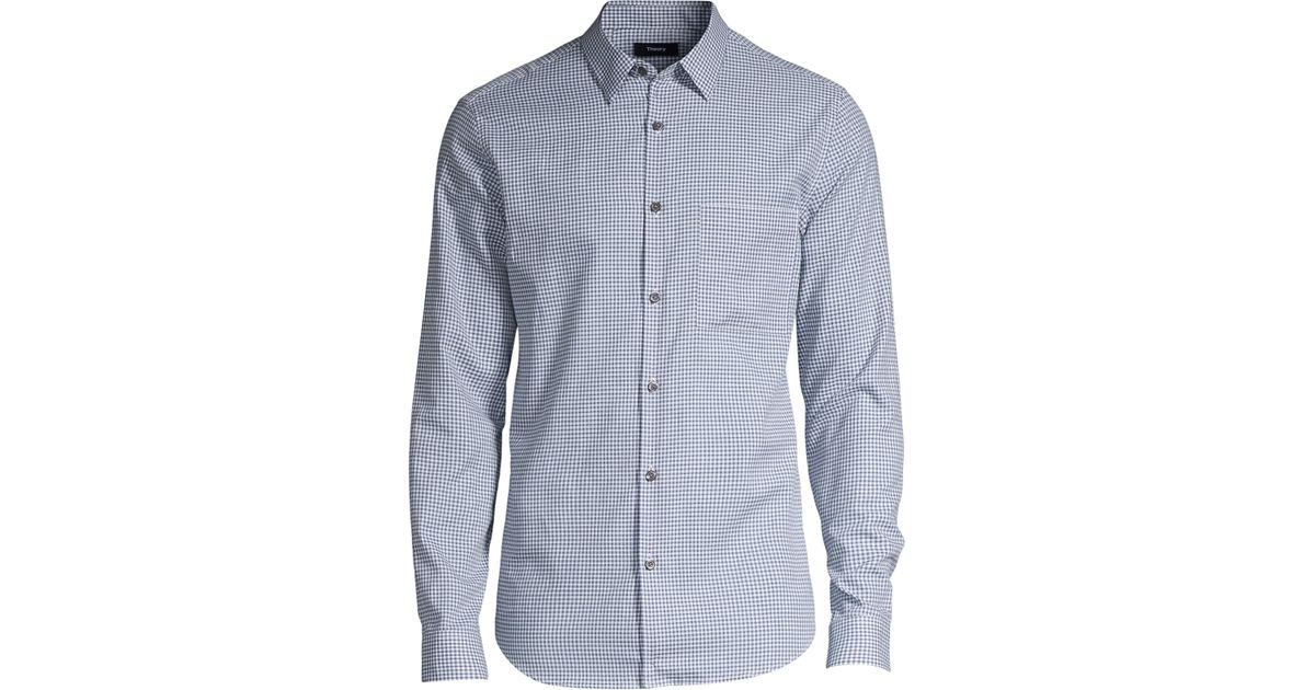 4354fe0d3 Theory Men's Irving Brushed Gingham Button-down Shirt - Acai Check - Size  Xxl in Blue for Men - Lyst