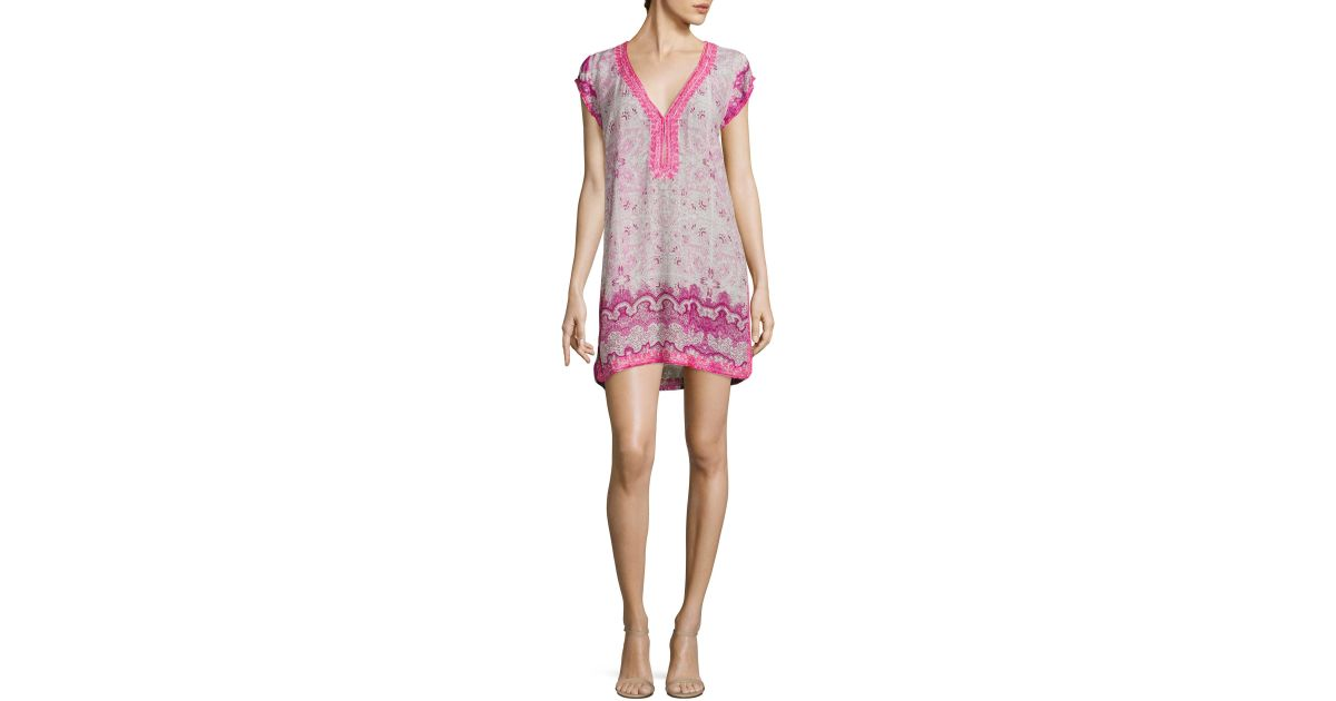 525d04a5fbd Calypso St. Barth Imbris Floral-print Tunic Dress in Pink - Lyst