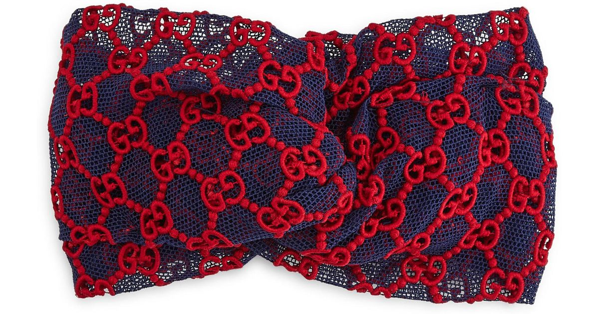 Lyst Gucci Guccy Lace Headband In Red