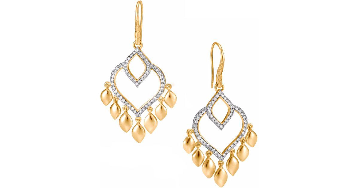 John Hardy Legends Naga Chandelier Earrings with Diamonds fDxIiSMri9