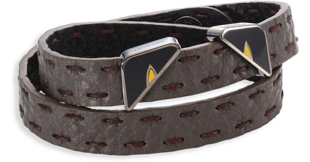 c18195606519 Lyst - Fendi Monster Eyes Leather Wrap Around Bracelet in Gray