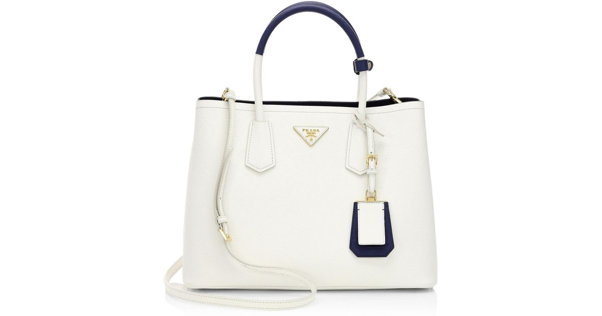 c91a2c3a1035 ... switzerland lyst prada large leather double tote in white 14eed 006ac  ...