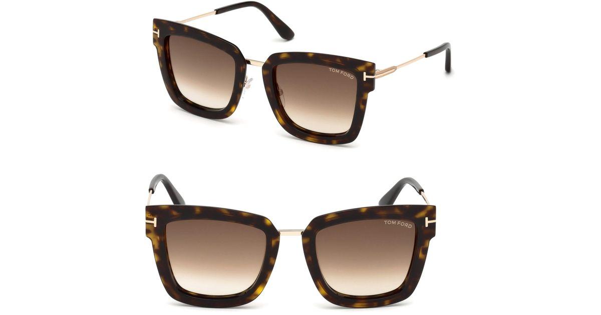 608fd37fe6e Lyst - Tom Ford Women s Lara Square Sunglasses - Havana in Brown