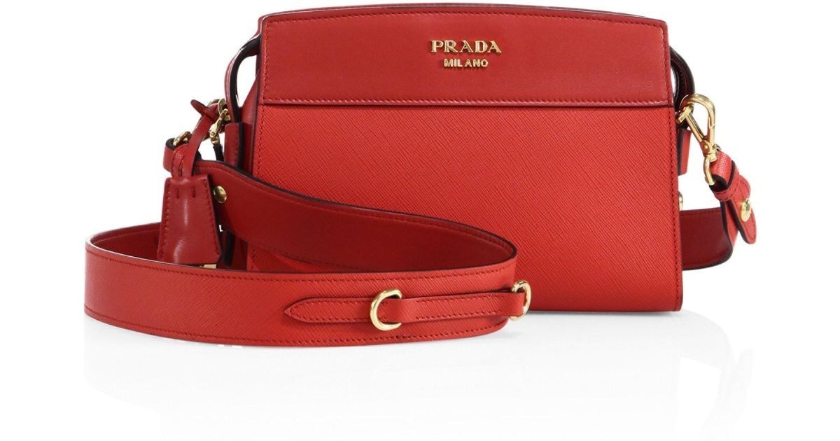 e97017899f5e Lyst - Prada Esplanade Leather Cross-Body Bag in Red