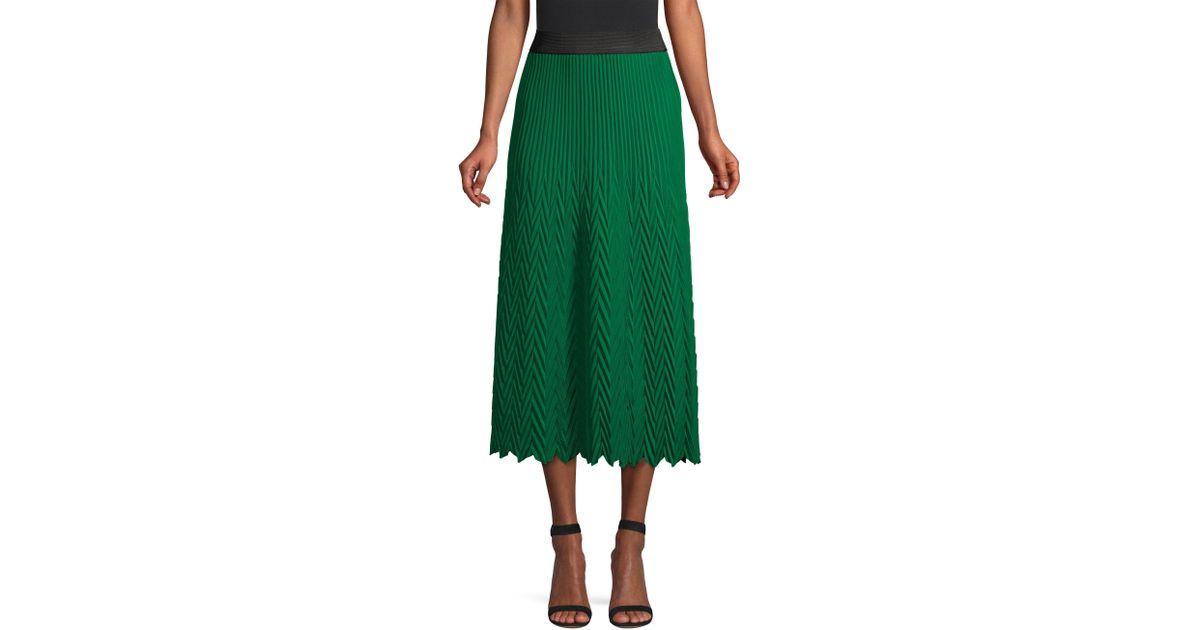 get new quality products top quality Maje Green Herringbone Pleated Midi Skirt