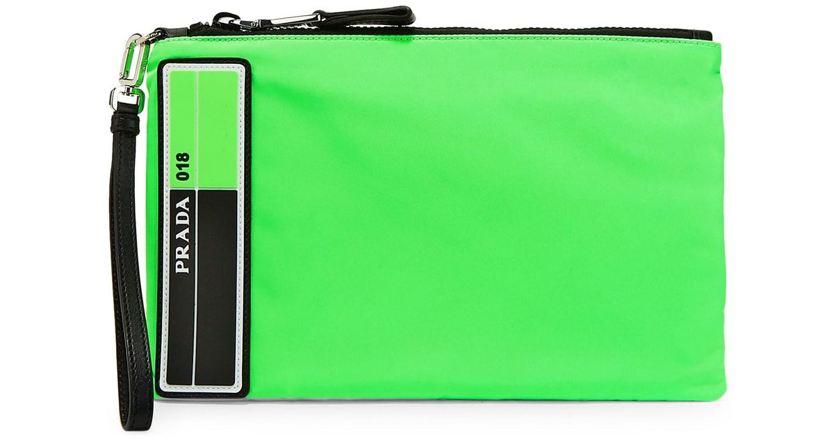 3ca8f337c47f Prada Men's Tessuto Medium Neon Pouch - Verde Fluo for Men - Lyst