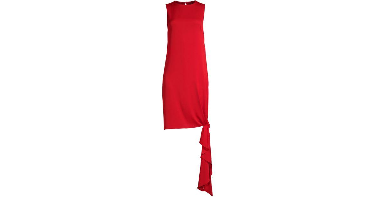 bb9e91b0 Lyst - MILLY Stretch Silk Chiara Shift Dress in Red