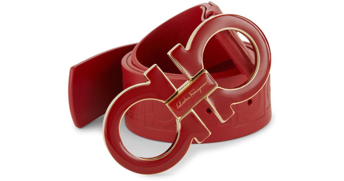 437ad911231b Ferragamo Adjustable Oversized Gancini Buckle Belt in Red for Men - Lyst