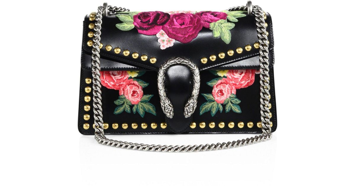 8df5d0d0023 Gucci Dionysus Studded Floral-embroidered Leather Chain Shoulder Bag in  Black - Lyst