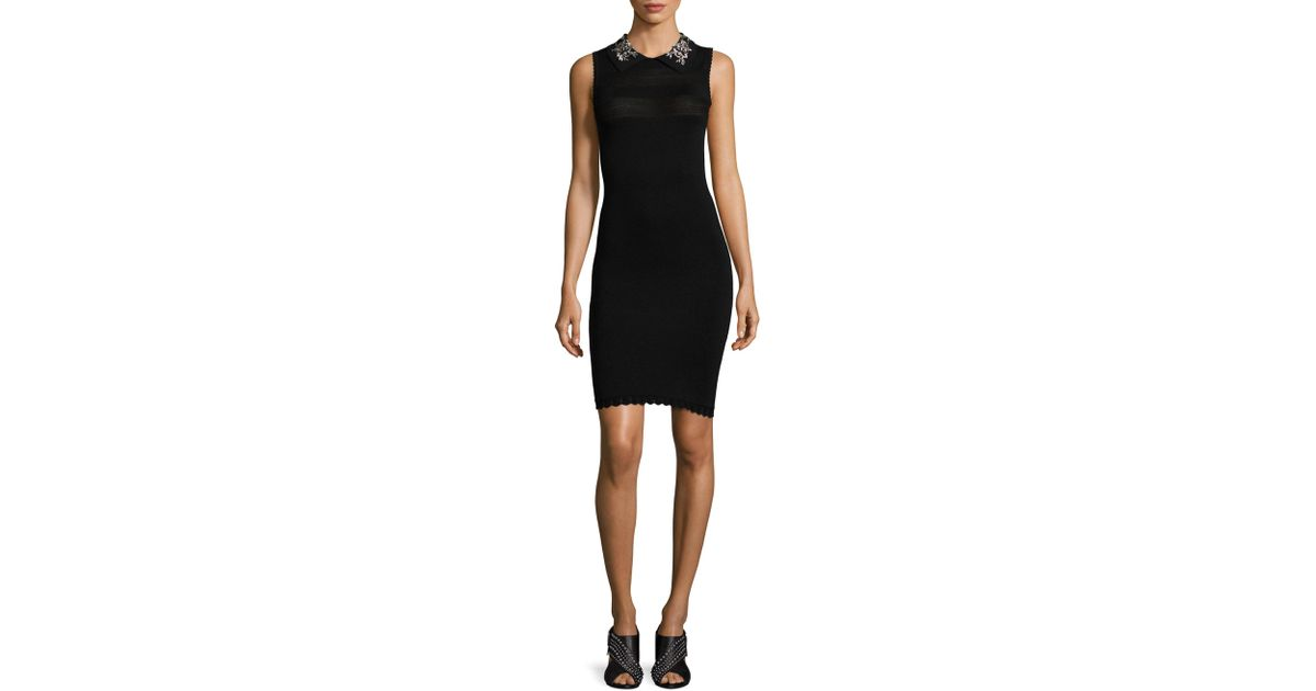 Vestido tallado de negro Jeweled cuello AxzqAZ