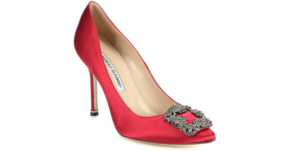 bf78d68e0dac ... new zealand manolo blahnik hangisi 105 satin pumps in red save  78.9051094890511 lyst 1d394 e866f