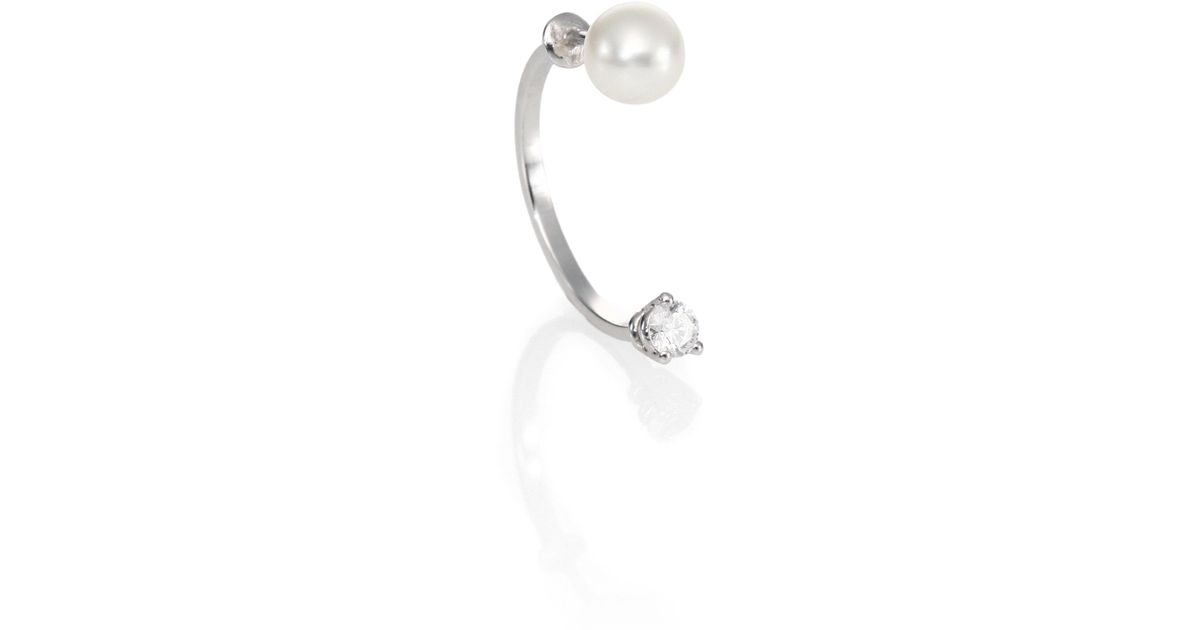Lyst Delfina Delettrez Never Too Light Diamond Single Pearl Drop Earring In Metallic