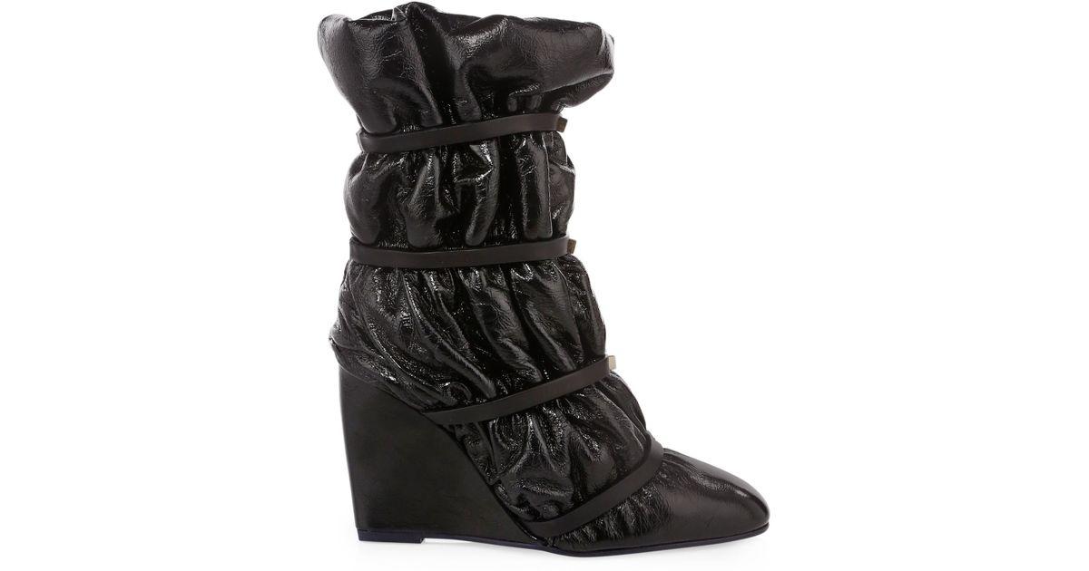 94073864e32 Stuart Weitzman Duvet Studded Leather Wedge Boots in Black - Lyst