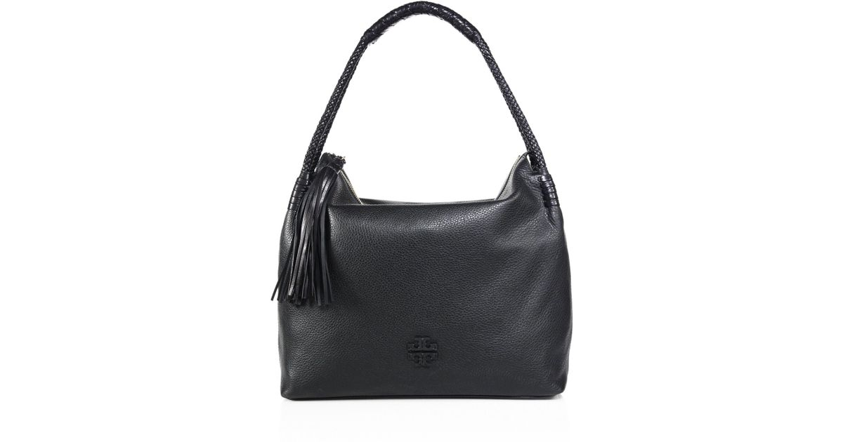 4740196e0b2d Lyst - Tory Burch Taylor Leather Hobo Bag in Black