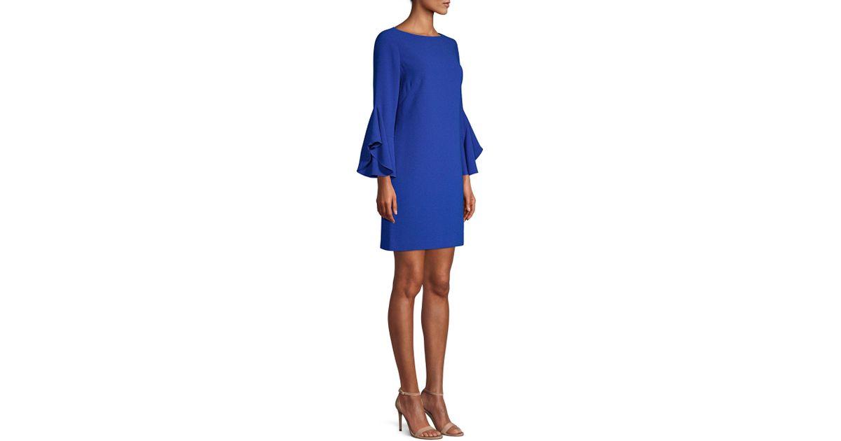 fecd17f2cf82 Elie Tahari Dori Boat-neck Flared-sleeve Crepe A-line Dress in Blue - Save  45.75342465753425% - Lyst