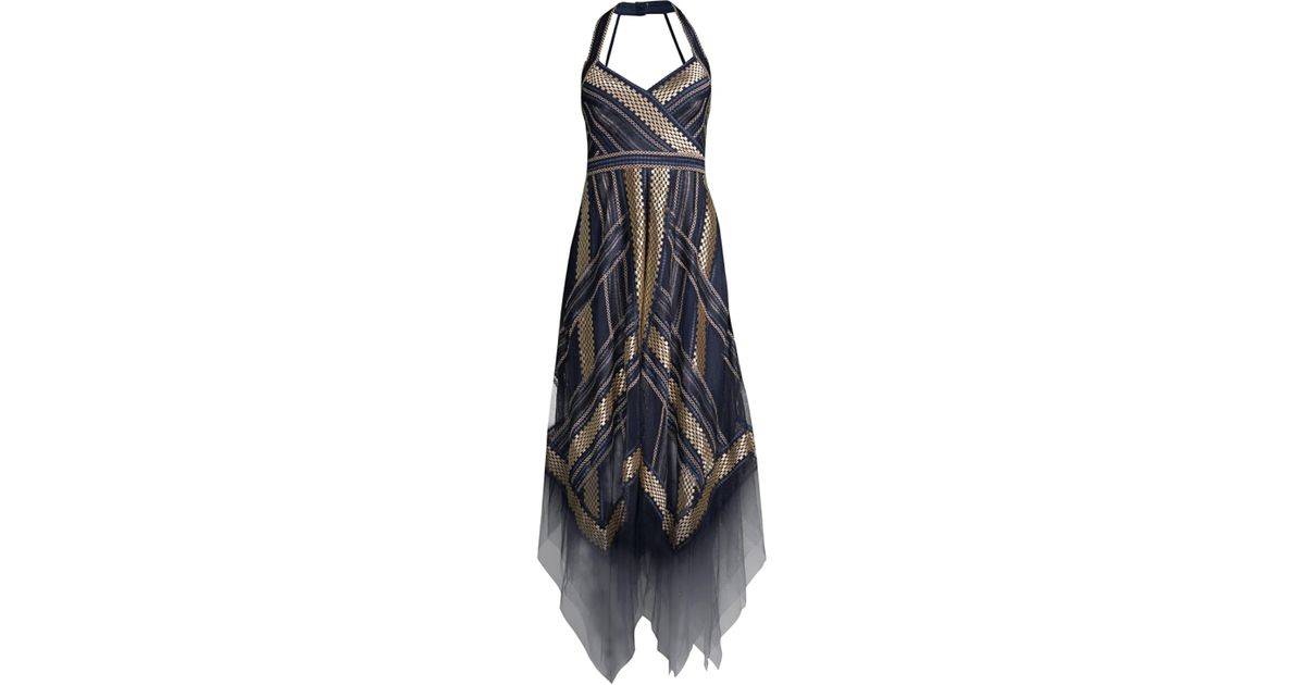 cad8a81f6fc BCBGMAXAZRIA Women s Metallic Striped Handkerchief Dress - Navy - Size 0 in  Blue - Lyst