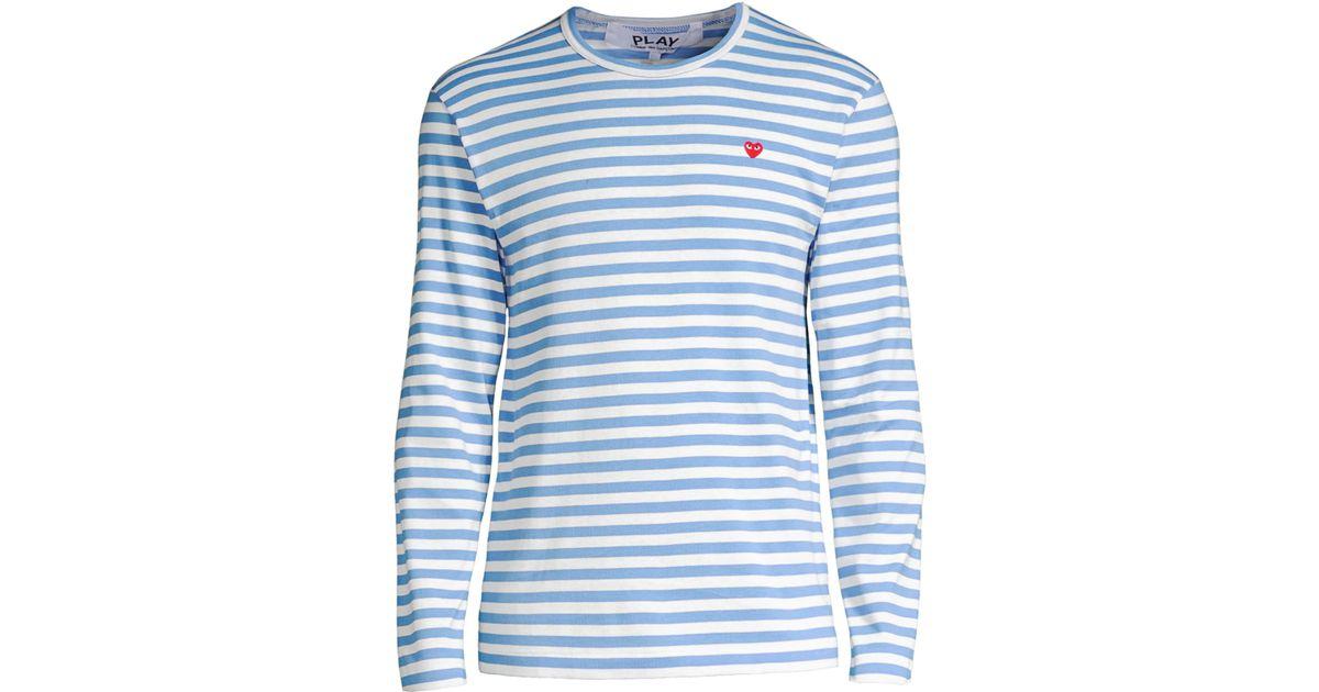 9754a7da0c2b COMME DES GARÇONS PLAY Small Heart Stripe Long-sleeve Tee in Blue for Men -  Lyst
