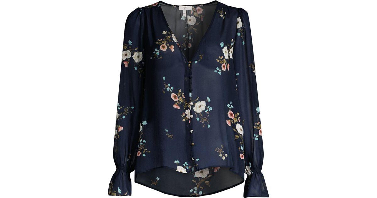 f5e9178e9501 Joie Women's Bolona Silk Sheer Blouse - Midnight in Blue - Lyst