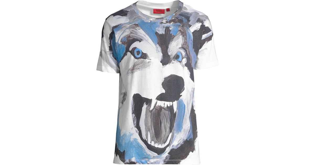 b5633f391 HUGO Men's Large Dolferin Wolf Tee - White - Size Xxl in White for Men -  Lyst