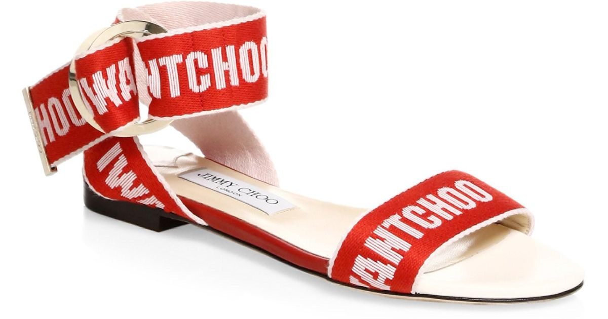 8e7ff23b0ba7 Lyst - Jimmy Choo Breane Logo Flat Sandals in Red