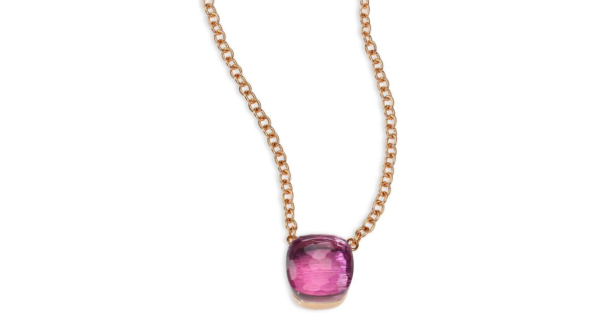 Lyst pomellato amethyst 18k rose gold pendant necklace in pink mozeypictures Gallery