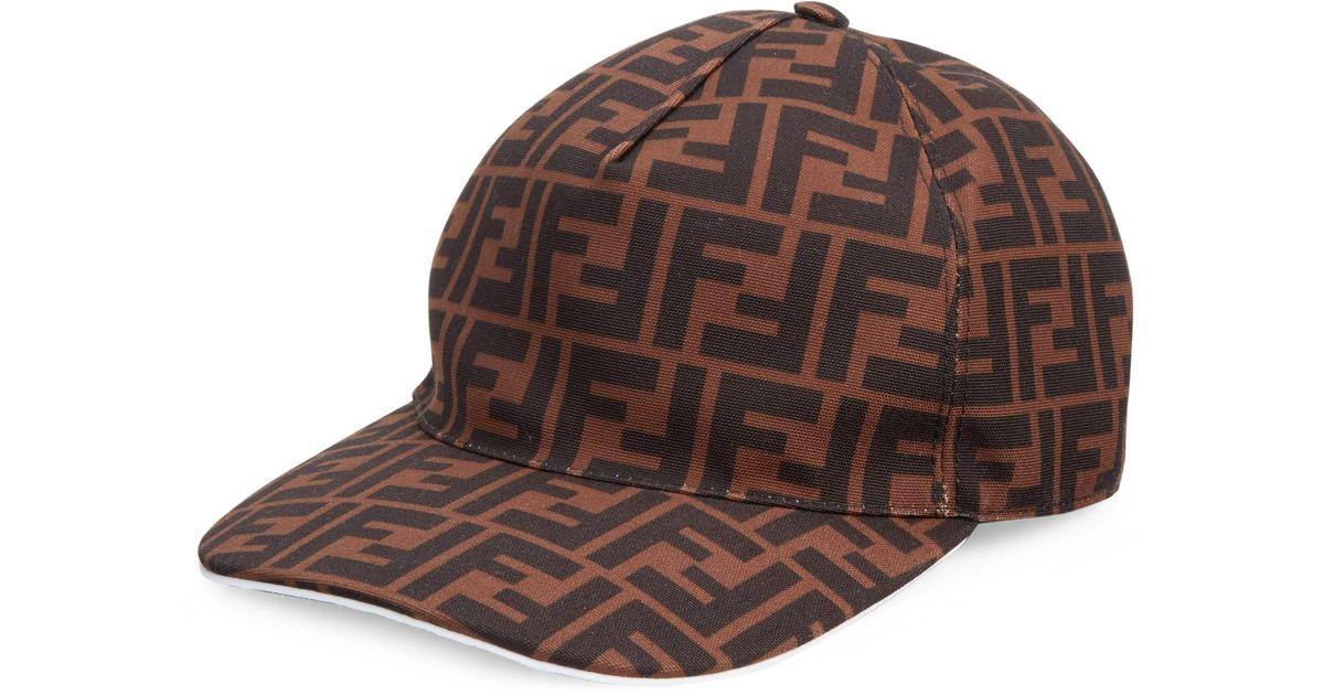 2d7037f4966 Lyst - Fendi Logo Baseball Cap in Brown for Men
