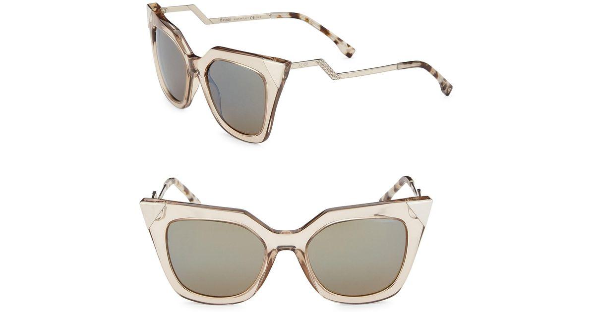 f5b312858d9 Fendi Zig-zag 52mm Cat Eye Sunglasses - Lyst