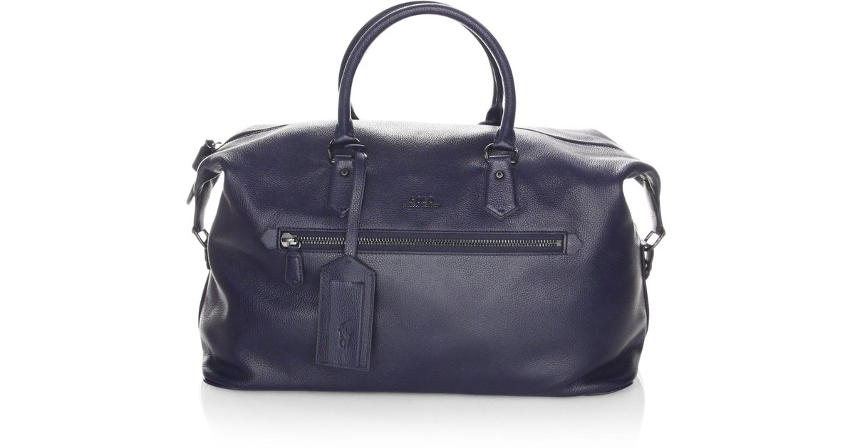 b0817483cc0a Polo Ralph Lauren Men s Pebbled Leather Duffle Bag - Blue in Blue for Men -  Lyst