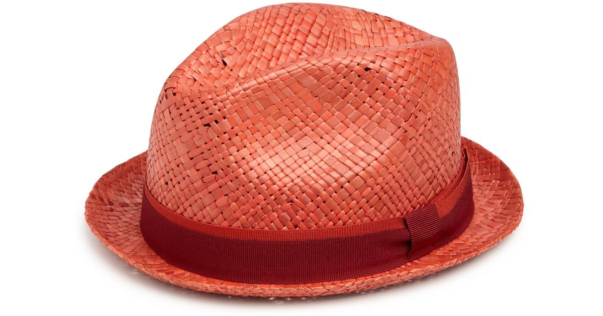 Paul Smith Bovens Panama Hat in Red - Lyst c6ef52589edb