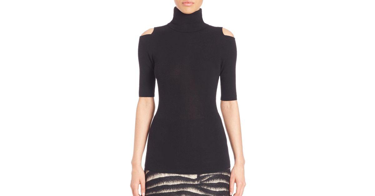 dd079606d0 Zoe Jordan Perey Wool & Cashmere Cold-shoulder Turtleneck Sweater in Black  - Lyst