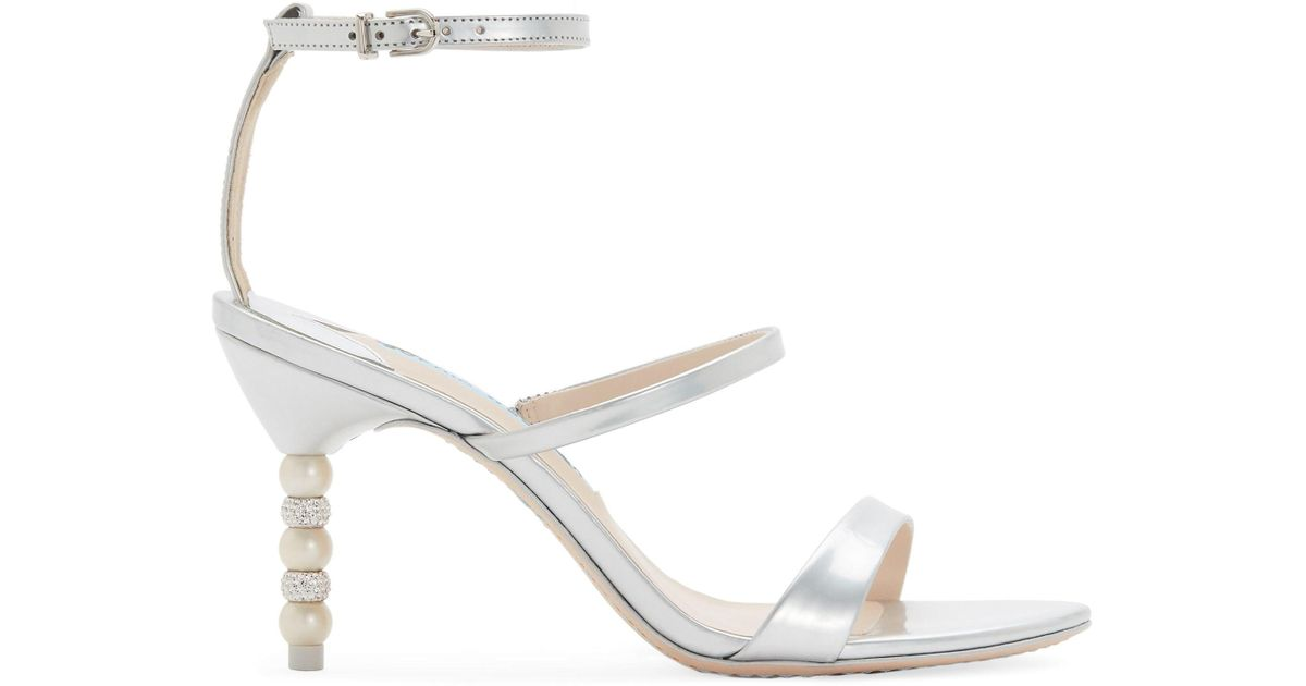 ab952d2a9cb1 Lyst - Sophia Webster Rosalind Strappy Crystal   Faux-pearl Heel Sandals in  White
