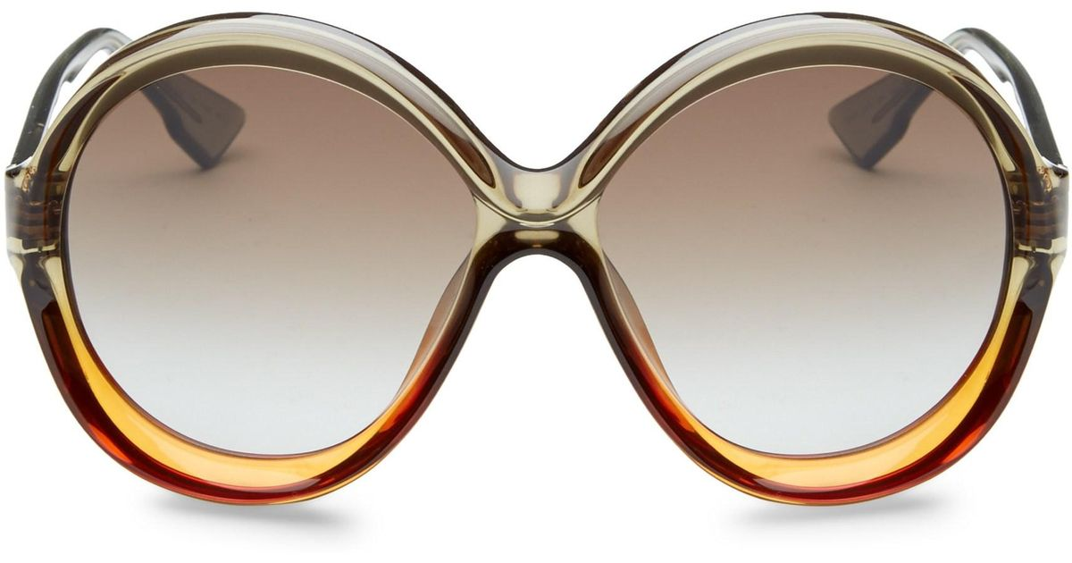 bb578852b40 Lyst - Dior Women s Bianca 58mm Round Sunglasses - Brown Orange
