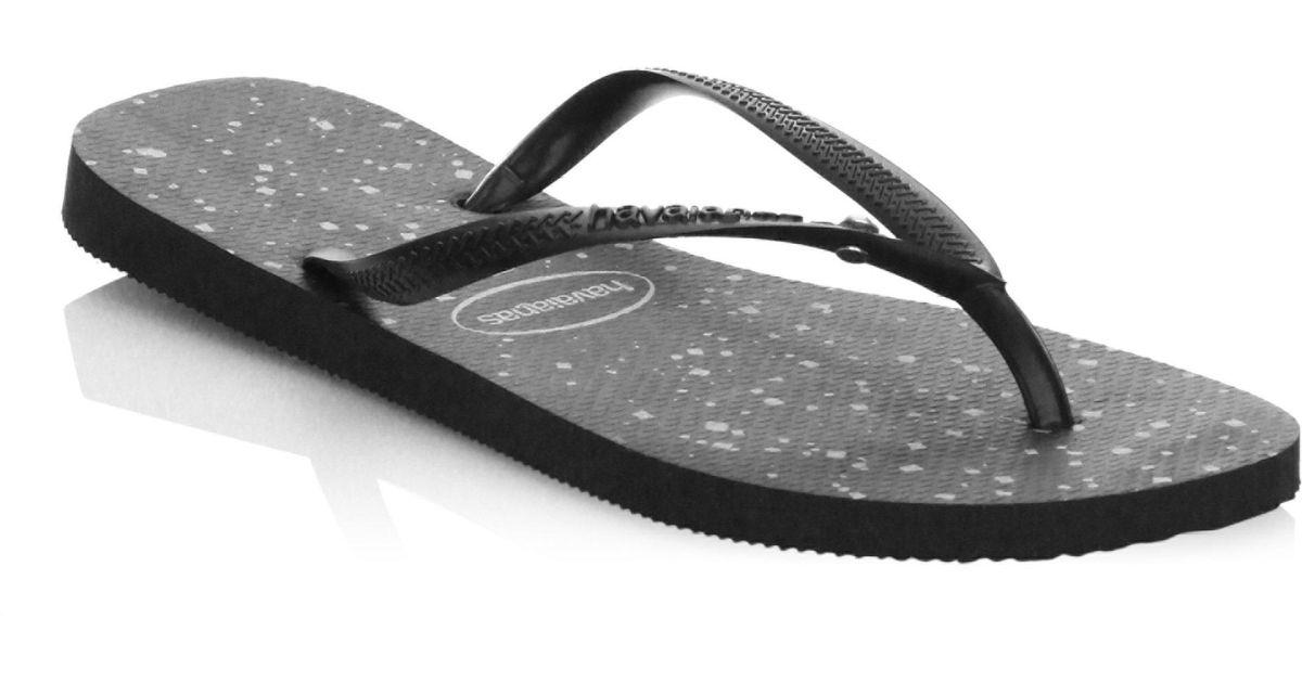 6eab2f24c15 Lyst - Havaianas Slim Glitter Flip Flops in Black