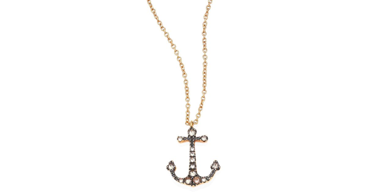 Lyst annoushka love diamonds 18k rose gold anchor pendant lyst annoushka love diamonds 18k rose gold anchor pendant necklace in metallic aloadofball Image collections