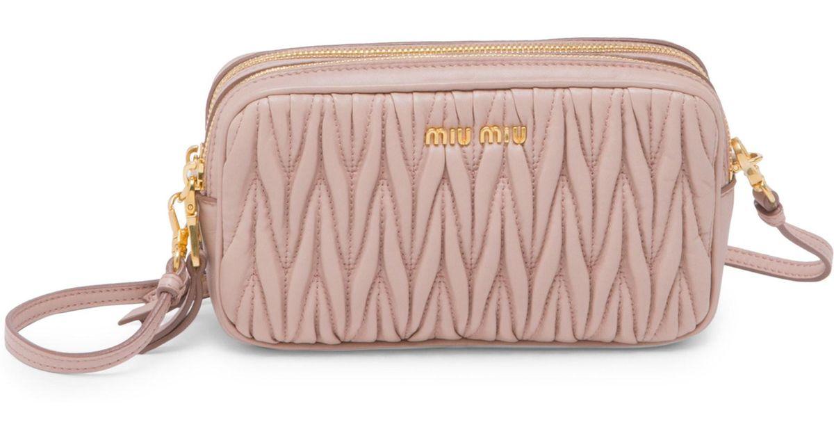3fe29d8256a Lyst - Miu Miu Matelasse Leather Double-zip Crossbody Bag in Pink