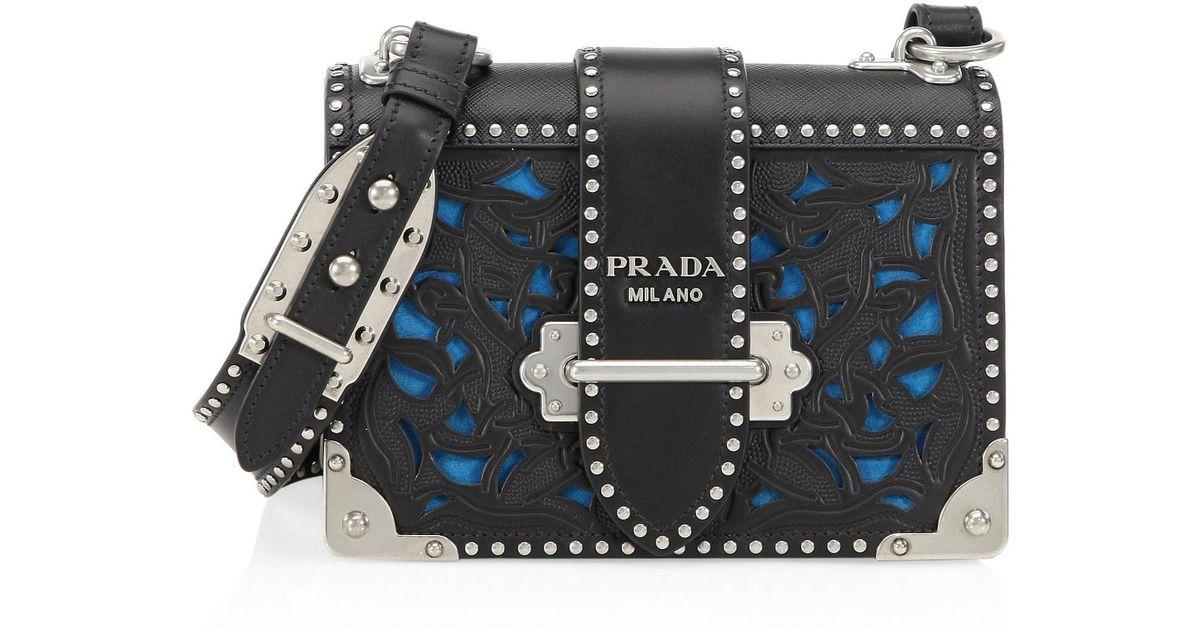 ... purchase lyst prada womens cahier laser cut saffiano leather crossbody  bag black in black 07c43 f142c 51627ae37f27d