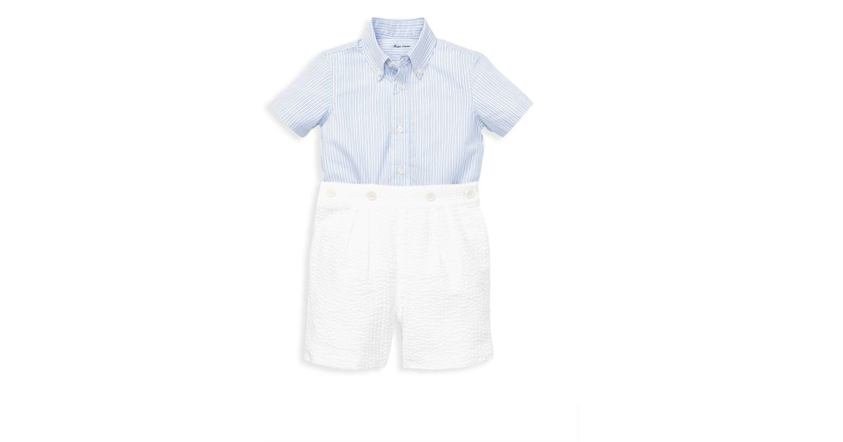 b9354535d1cde Ralph Lauren Baby Boy s Two-piece Striped Shirt   Seersucker Shorts Set -  Blue - Size 24 Months in Blue for Men - Lyst