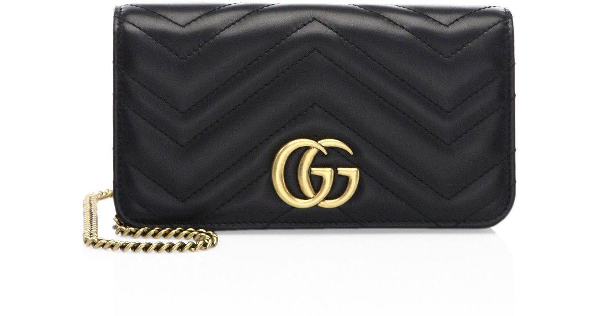 e0589aa24e3 Gucci Marmont 2.0 Leather Crossbody Bag in Black - Lyst