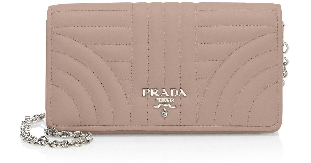3d623076620c Prada Quilted Crossbody Wallet On Chain - Lyst