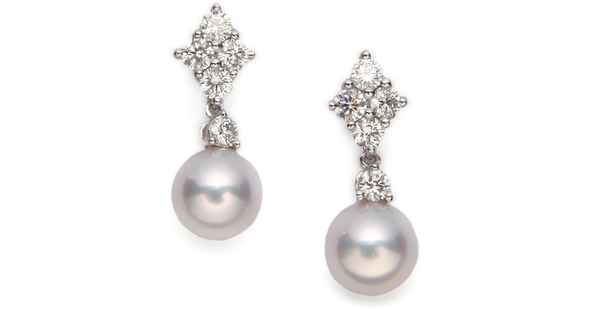 Lyst Mikimoto 7 5mm White Cultured Akoya Pearl Diamond 18k Gold Drop Earrings In