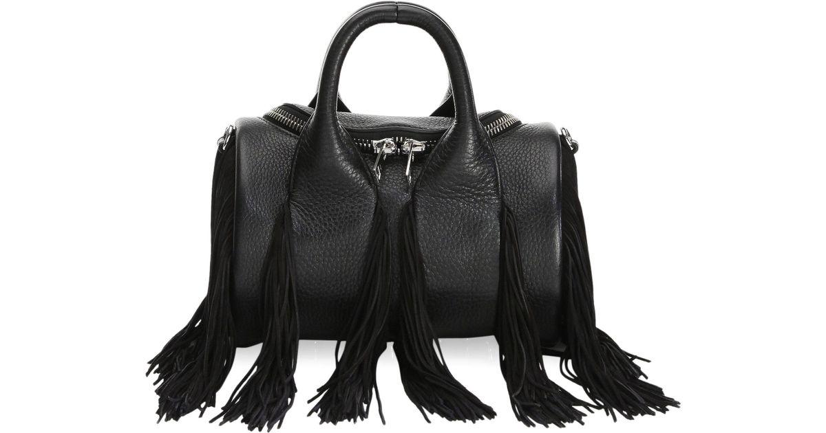 Lyst Alexander Mini Rockie Fringe Soft Pebble Leather Handbag In Black