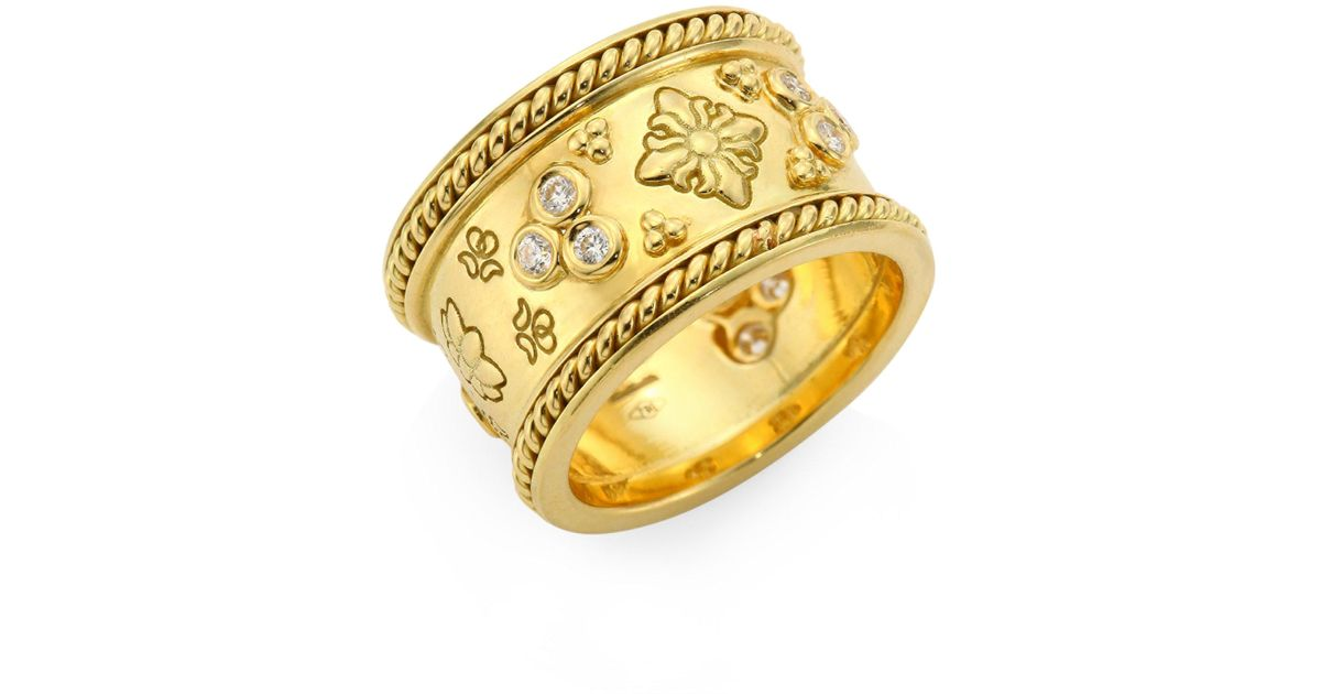 Temple st clair Nomad Diamond & 18k Yellow Gold Band Ring in