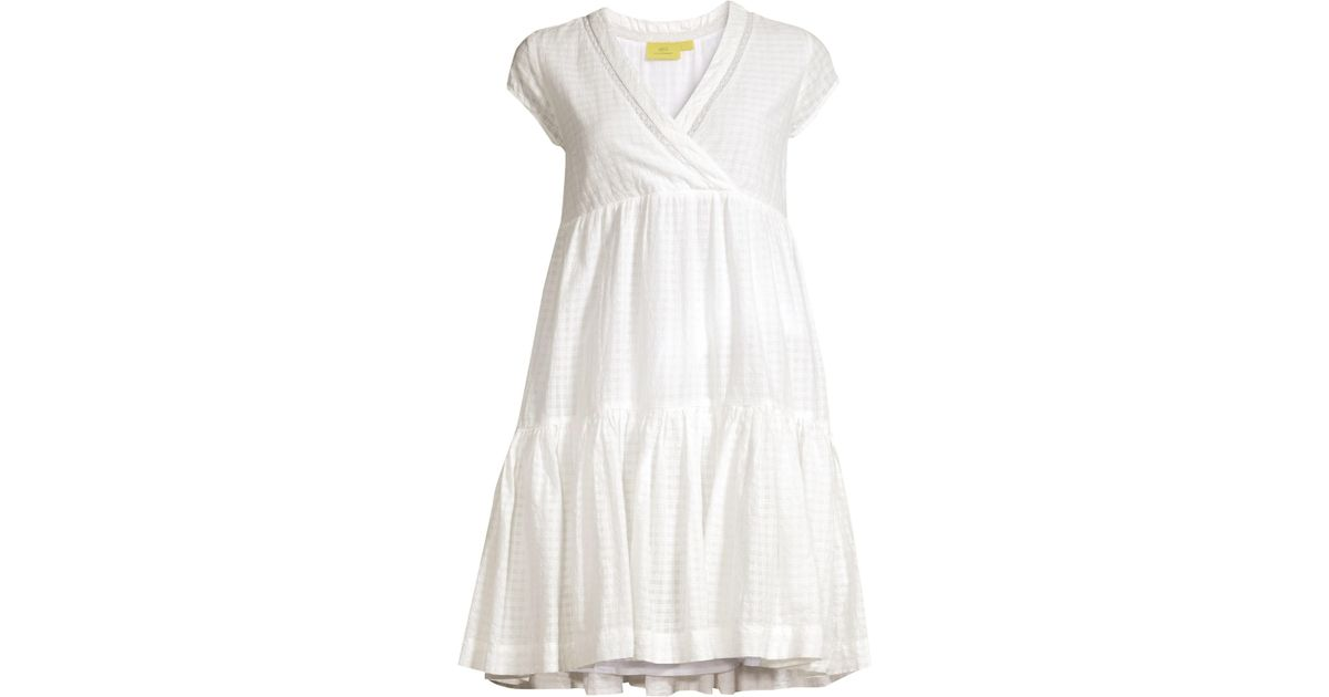2038a9b2bd Roberta Roller Rabbit Dobby Check Empire Waist Tiered Ruffle Trapeze Dress  in White - Lyst