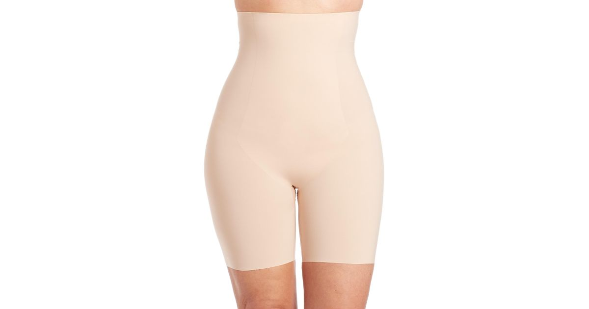 c27dcdd381e Lyst - Spanx Women s Plus Thinstincts High-waist Mid-thigh Shaper Shorts - Soft  Nude - Size 2x in Pink