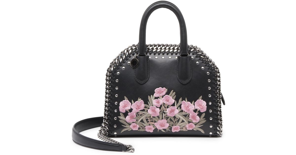 3c2aad024b74 Lyst - Stella Mccartney Falabella Box Embroidered Faux Leather Top-handle  Satchel in Black
