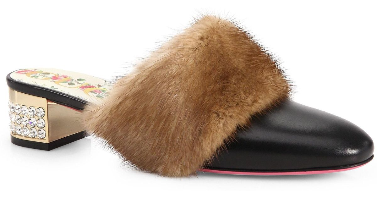d73a88d7b6a Gucci Leather Slide With Mink Fur in Black - Save 29% - Lyst