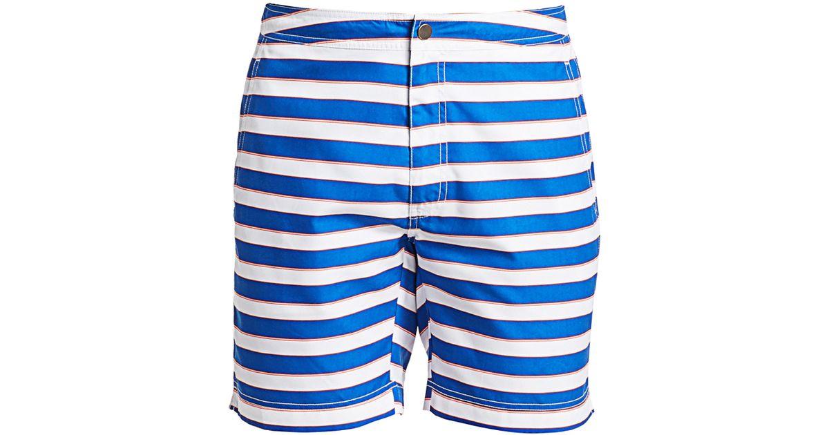dd8f2bd64f14 Lyst - Saks Fifth Avenue Men's Modern Macro Pinstripe Swim Shorts - Size  Medium in Blue for Men