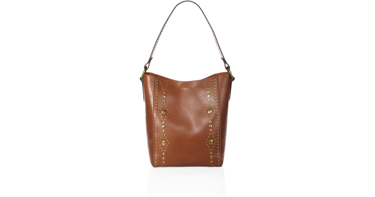 a84380c180 Lyst - Frye Women s Harness Studded Leather Hobo Bag - Rust in Brown