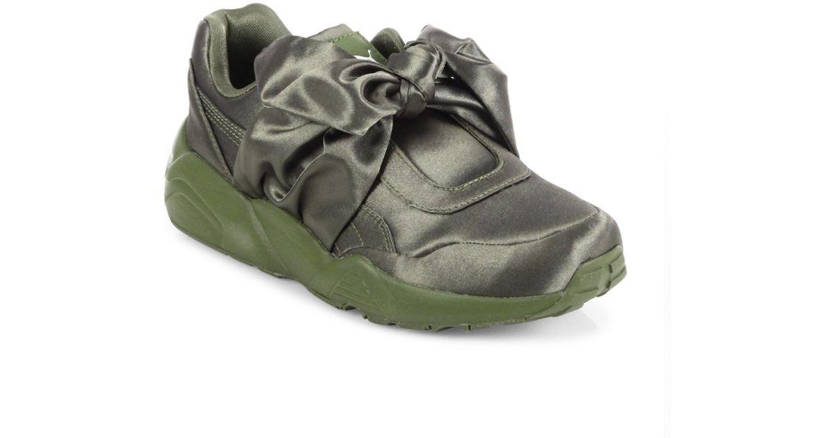 Lyst - PUMA Fenty X Rihanna Satin Bow Sneakers in Green 2418e79eb
